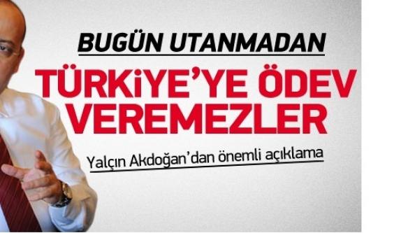 Akdoğan: Türkiye'ye ödev veremezler
