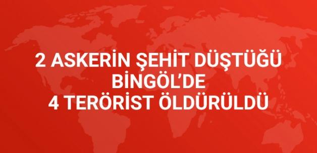2 Askerin Şehit Düştüğü Bingöl'de 4 Terörist Öldürüldü