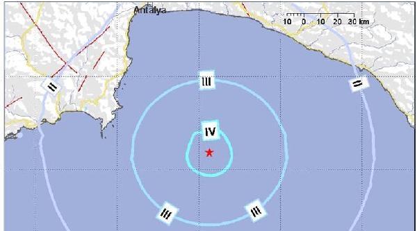 Antalya Açıklarında 4.4 Büyüklüğünde Deprem