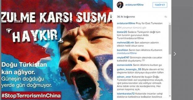 Arda Turan'dan 'Doğu Türkistan' mesajı