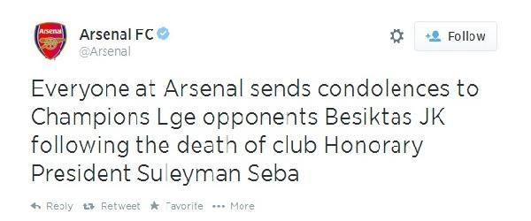 Arsenal'dan Seba İçin Başsağlığı Mesajı