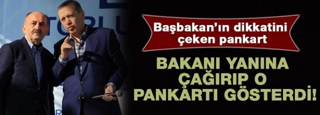 Başbakan Erdoğan'ın dikkatini çeken pankart...