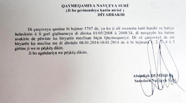Bdp'li Belediyeden Kaymakamliğa Kürtçe Resmi Yazi