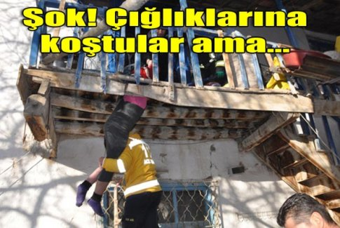 Bedensel engelli kadın, kırılan ahşap balkona sıkıştı