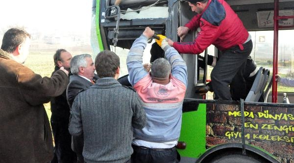 Belediye Otobüsü, Otomobil Ve Traktör Kaza Yapti: 5 Yarali