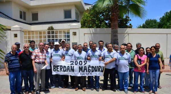 Berdan  İşçileri, Patronun Villasının Önünde Eylem Yaptı