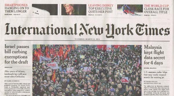 Berkin Eylemleri New York Tımes'ın Avrupa Baskısında Manşette