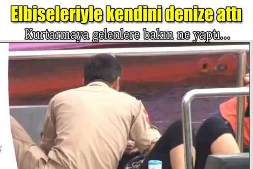Beşiktaş'ta denize atlayan kadın kurtarmaya gelenlere zor anlar yaşattı