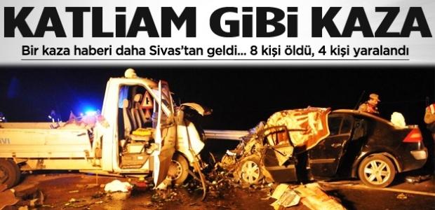 Bir kaza haberi de Sivas'tan geldi! Katliam gibi kaza!
