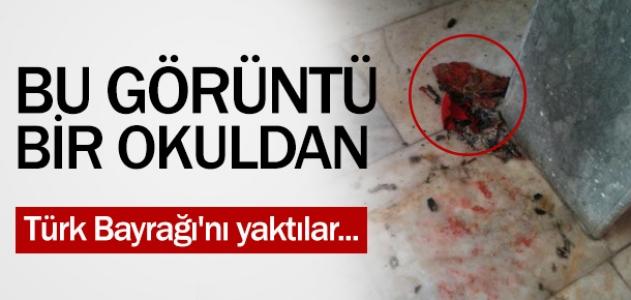 Bu görüntü bir ilkokuldan! Türk Bayrağı'nı yaktılar!