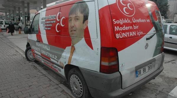 Bünyan Belediye Başkani Mhp'li Özmen'In Seçim Aracinin Lastikleri Kesildi