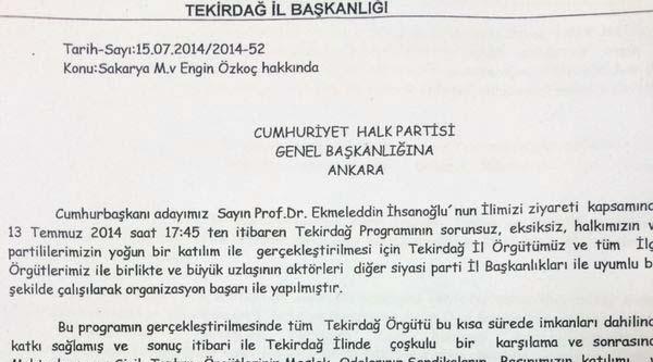 Chp Milletvekili Özkoç, Genel Merkeze Şikayet Edildi
