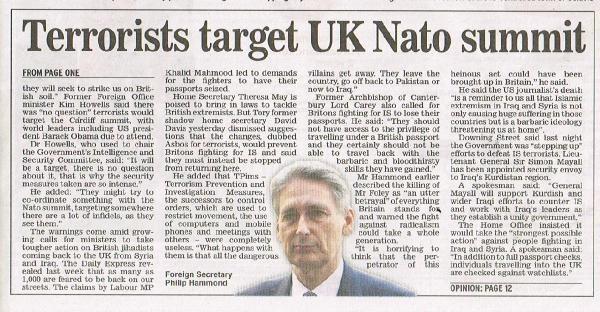 Daıly Express: Teröristler İngiltere Nato Zirvesini Hedefliyor