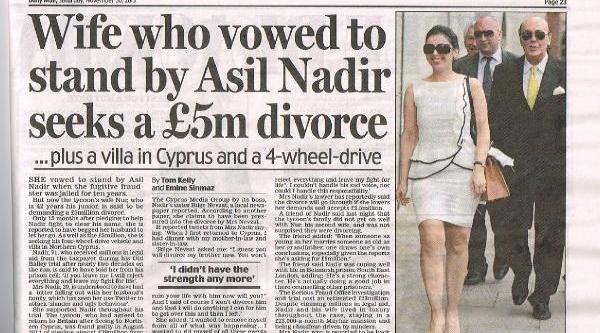 Daily Mail: Nur Nadir, Asil Nadir'den Boşanmak Için 5 Milyon Sterlin Istiyor
