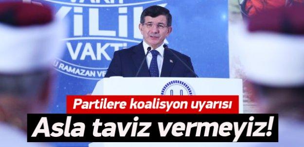 Davutoğlu'ndan partilere koalisyon uyarısı