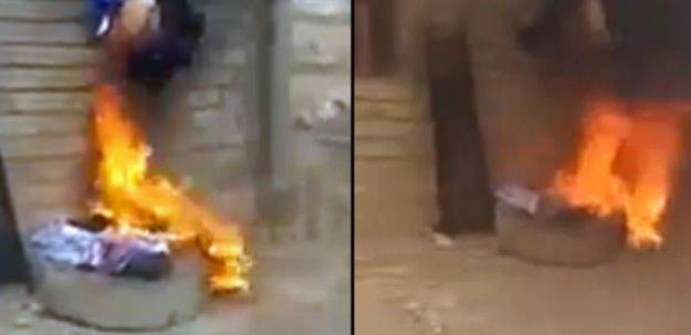 DEAŞ'lı militanı diri diri yaktılar