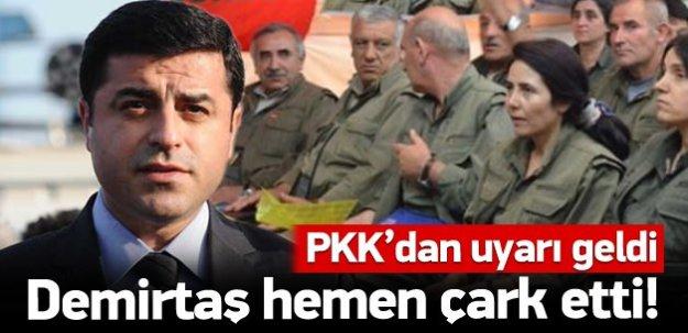 Demirtaş PKK'nın uyarısı sonrası çark etti!