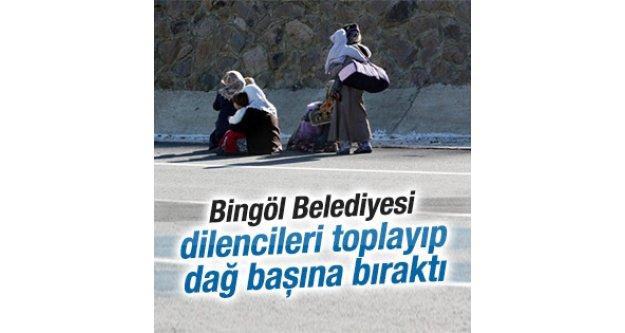 Dilencileri dağ başına bırakan Bingöl Belediyesine tepki
