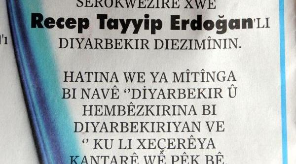 Diyarbakir'da Türkçe Ve Kürtçe 'çözüm Sürecinin Baş Mimarini Kucakliyor' Ilanlari