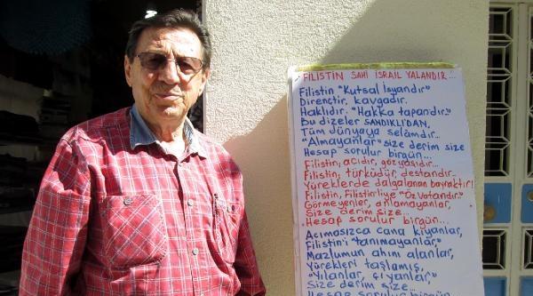Emekli Öğretmenden Şiirli İsrail Protestosu