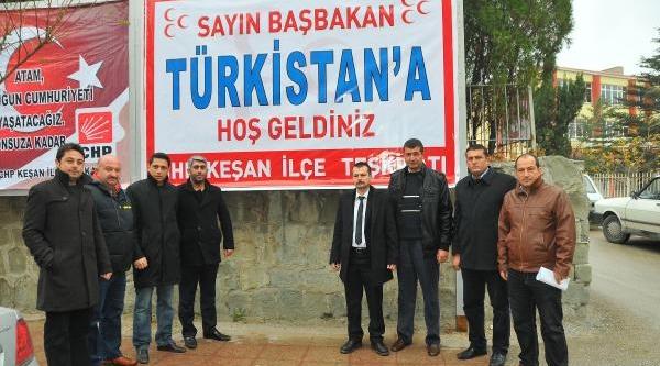 Erdoğan Için Keşan'da 'türkistan'a Hoş Geldin' Afişi