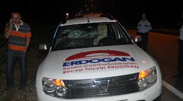 Erdoğan'ın Seçim Tanıtım Aracına Saldırı