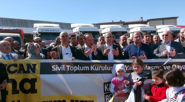 Erzincan'dan Suriye'ye 15 Tır Yardım Gönderildi