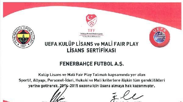 Fenerbahçe Kulübü, Uefa Lisansı Aldığını Duyurdu