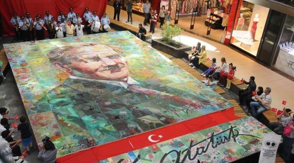 Gaziantep'te 85 Metrekarelik Atatürk Portresi Yapıldı