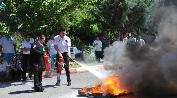Gaziantep'te Hastanede Yangın Tatbikatı Yapıldı