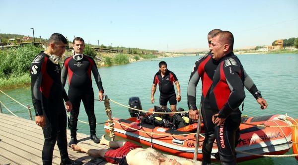 Gaziantep'te İftfaiyeden Boğulma Tatbikatı