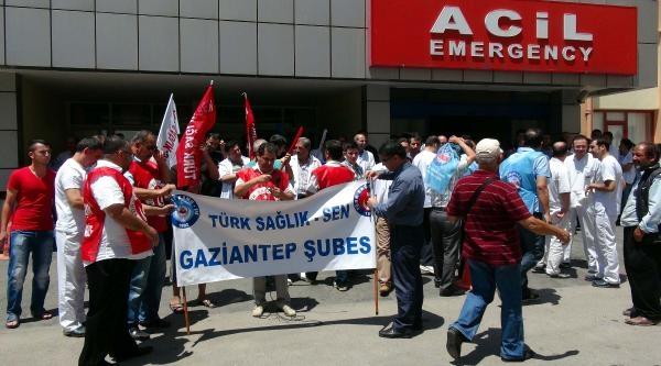 Gaziantep'te Sağlıkçılardan Şiddet Protestosu