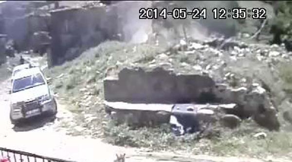 Gökçeada Depreminde Yıkılan Duvarlar Güvenlik Kamerasında