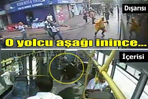 Halk otobüsündeki dehşet anları kamerada
