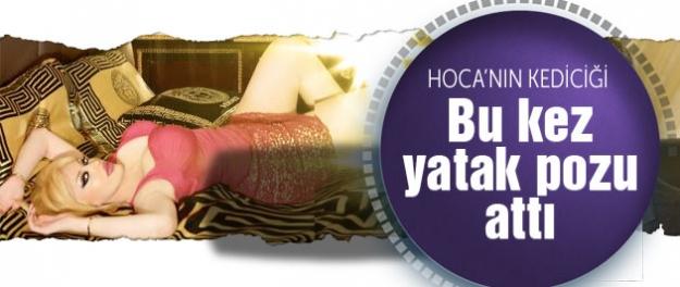 Hoca'nın kediciğinden olay yaratan yatak pozu...