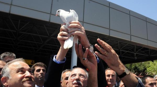 İhsanoğlu, Diyarbakır'da Beyaz Güvercin Uçurularak Karşılandı