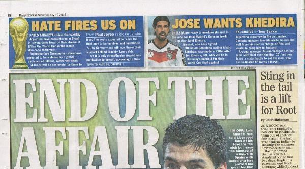 İngiliz Basını Manşetlerini Luis Suarez'e Ayırdı