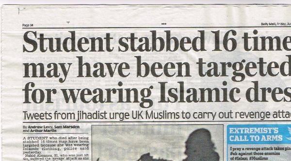 İngiliz Basını, 'peçe' Cinayetini Yazdı