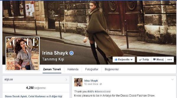 Irina Shayk'tan Teşekkür Mesajı