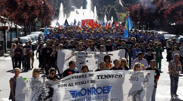 İspanyol Madenciler Soma İçin Gösteriler Yaptı