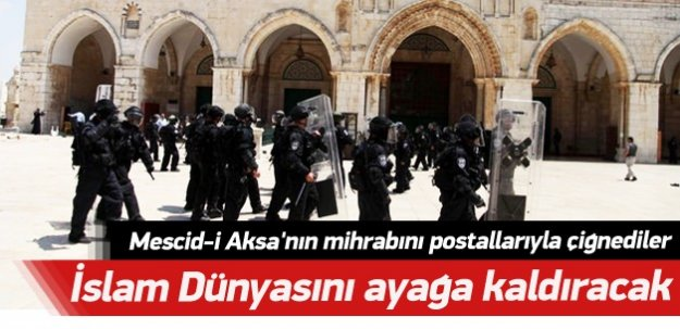 İsrail askerinden Mescid-i Aksa'ya çirkin saldırı!