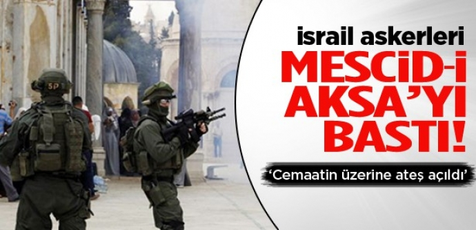 İsrail askerleri Mescid-i Aksa'yı bastı!