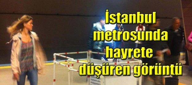 İstanbul metrosunda hayrete düşüren görüntü!