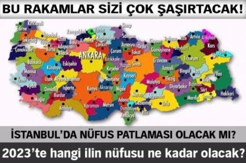 İşte Türkiye'nin il il 2023'teki nüfusu