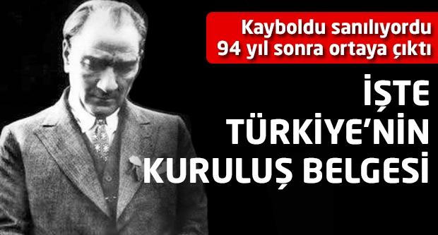 İşte Türkiye'nin kuruluş belgesi!
