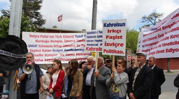 İsviçre'de Tutuklu Bulunan Babaları İçin Elçilik Önüne Siyah Çelenk Bırakıp, Başbakan'dan Yardım İstediler