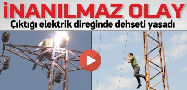 İzmir'de inanılmaz olay: Çıktığı direkte dehşeti yaşadı...