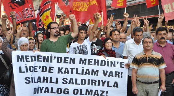 İzmir'de Lice Olayları Protesto Edildi