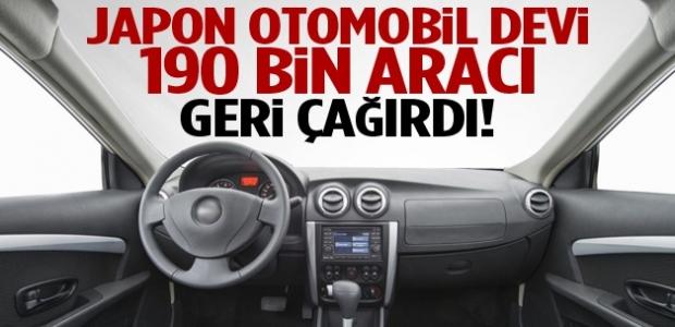 Japon otomobil devi 190 bin aracı geri çağırdı!