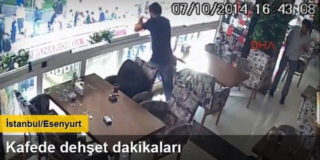 Kafedeki korku dolu dakikalar güvenlik kamerasında